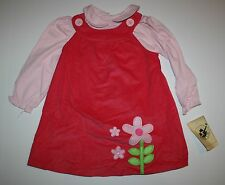 NEW Good Lad Jumper Dress & Top Set Size 3T Flower Applique Round Pan Collar