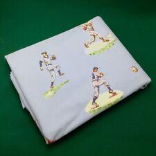 Pottery Barn Kids Full Size Flat Double Sheet Baseball Design Blue Cotton