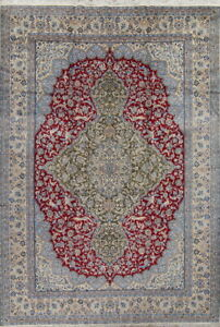 Antique Floral Traditional Oriental Wool/ Silk Area Rug Handmade Carpet 10x14 ft