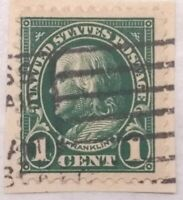 1908 Benjamin Franklin 1 Cent Dark Green US Postage Stamp