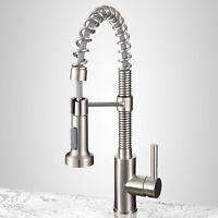 Brushed Nickel Kitchen Faucet Sink Swivel Spring Deck Mounted Mixer Tap