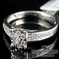 Flower Ladies Womens 10k White Gold Genuine Real Diamond Engagement Ring Band