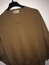 Monte Carlo Men's Size 42 Brown Heather V Neck L/S/ Sweater PURE WOOL