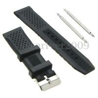 22mm Black Silicone Rubber Watch Strap Band For Casio Seiko Diver Scuba New