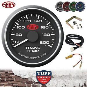 SAAS Transmission Trans Oil Temp Gauge 60⁰ - 200⁰C Black Face 52mm & Fitting Kit