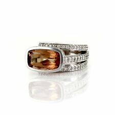 Gauthier Precious Topaz and Pave Diamond Ring in 14K White Gold | FJ