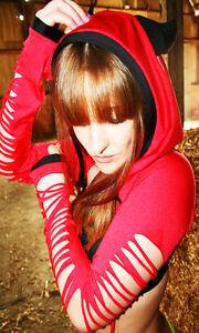 Funki-B halloween devil red slashed hooded shrug jacket fancy dress costume horn