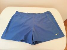 NIKE dri fit blue shorts with yellow logo - womens medium