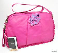 Nwt RENATO ANGI Italy Nappa Leather Flower Hobo Handbag Shoulder Bag ~Hot Pink
