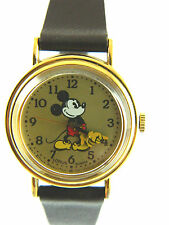 LORUS /DISNEY MICKEY MOUSE  YELLOW FACE LADIES WATCH  /BROWN BAND  # YELLOW GLOV