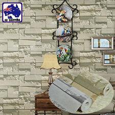 10M Wallpaper 3D Brick Stone Natural Colour Slate Rustic Look Grey Beige HWPA691