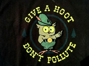 Vintage 70's Mascot WOODSY OWL Give a Hoot Don't Pollute T SHIRT Large Brown