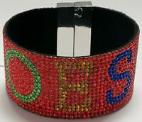 OES Red Austrian Crystal Bracelet With Magnet Closure Eastern Star
