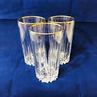 3 Pasabahce Circle Art Clear Drinking Highball Glasses Gold Rimmed Rims