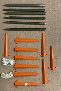 USGI Pup Tent Accessories 10 Stakes, 6 Poles, Lead Lines x 2 - TENT NOT INCLUDED