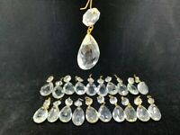 "Lot of 21 almond 1 5/8"" Crystal prism chandelier Antique lamp parts w octagon"