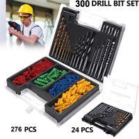 Drill Bits & Wall Plug Set 300Pc Multi Surface Bit Masonary Wood Metal Material