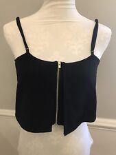Women's Express Size S/P Zip Crop Top Black
