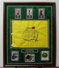 Phil Mickelson Autographed 2004 Masters Flag & 2004 2006 2010 Badges Framed