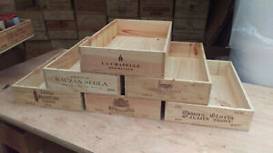 Wooden Wine Box Crate ~ 6 bottle flat size ~ French, storage, drawer, vintage.
