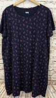 Basic Editions dress womens 3X short sleeve paisley navy shift tshirt stretch A2