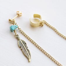 Feather Ear Cuff Earring - Turquoise Boho Bohemian Ear Studs Womens Jewellery UK