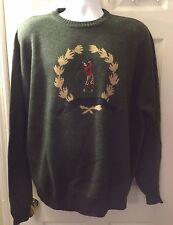 New BOBBY JONES Collection Green Golfer Crest Sweater Crew Neck 100% WOOL Sz XL