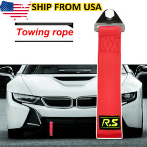 Car Tow Towing Red Strap Belt Racing Sport Drift Rally Front Rear Universal Hook