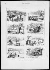 1879-antica stampa Londra Hyde Park Cavallo POLIZIOTTO PANCHINA PICNIC di famiglia (205)