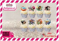 DC SuperHero Girls 24x Stand-Up Pre-Cut Wafer Paper Cup cake Toppers