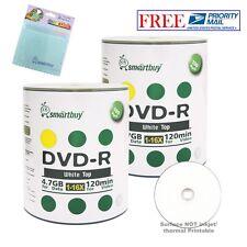200 Smartbuy DVD-R 16X 4.7GB White Top Blank Media Disc + FREE Micro Fiber Cloth