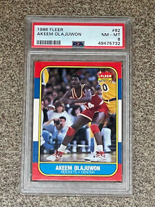 1986 Fleer Hakeem Olajuwon RC #82 PSA NM-MT 8