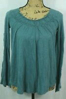 Free People Bell Sleeve Cotton Tee Size XS Smocked Neckline Teal Green
