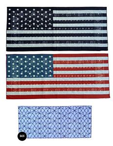 Oversized 72*35 Black/ Red USA Flag Lightweight Microfiber Beach Towel - 2 Pack