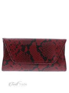 Handbag Republic | Wine Vegan Leather Snake Skin Clutch | NWT