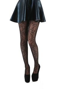 Womens - All Over Cobweb Lace Tights (Black) 28-32
