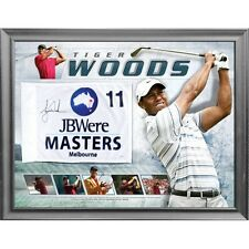 TIGER WOODS AUSTRALIAN MASTERS HAND SIGNED FRAMED LIMITED EDITION GOLF FLAG