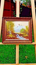 Dipinto ad olio su tela dorati TELAIO River con montagne sullo sfondo