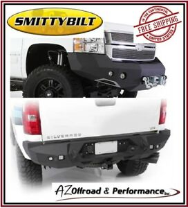 Smittybilt M1 Front 612821 & Rear 614820 Bumpers for 11-14 GM 2500 3500 HD
