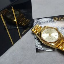 Vintage Bulova Super Seville Automatic Day Date Champagne Gold Dial Mens Watch
