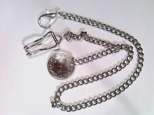 Pocket watch chain, silver tone, with Liberty Head V Nickle fob