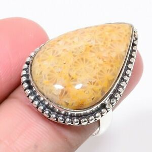 Australian Fossil Coral Gemstone 925 Sterling Silver Handmade Ring s.8 S2628