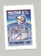 St Vincent #1166 Telestar II, Space, Olympics, Skating 1v Imperf Proof on Card