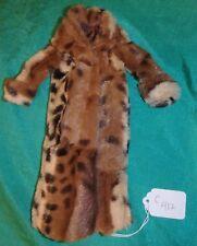 Medium Brown Soft Faux Fur Coat w Black Spots Floor Length, for Barbie Doll C412