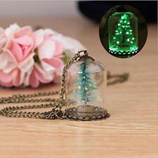 Christmas Tree Glass Cover Glow In The Dark Wishing Pendant Necklace Xmas Gifts