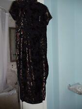 Black Velvet Asian Cheongsam style Evening dress  Sz 8
