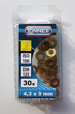 CONNEX Messing Unterlegscheiben 4,3 x 9 mm 30 Stück ISO 7090 DIN 125