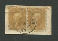 1861 United States Postage Stamp #67 Used F/VF Pair Owensboro Kentucky Cancel