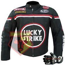 Lucky Strike 0113 Black Real Leather Motorcycle Motorbike Biker Racing Jacket