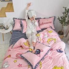 Anime Sailor Moon Cotton Short Plush Bed Sheet Quilt Duvet Cover Pillowcase Gift